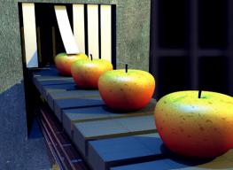 apples on machine