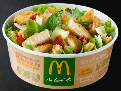 "McDonald's Canada's ""Keep Calm, Caesar On"" crispy chicken salad. Source: McDonald's Canada"