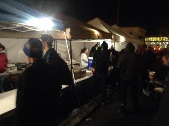 Huge tent setup to feed the hungry for Christmas.