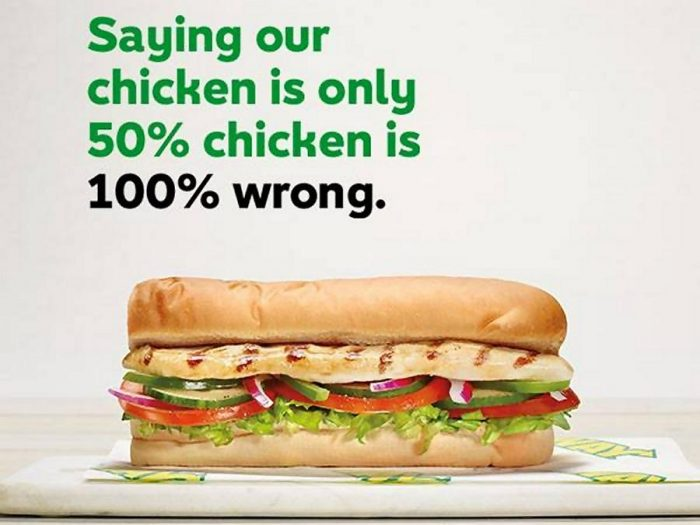 Subway Sues TV Network over Report that its Chicken is 50% Soy