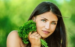 girl with leafy greens