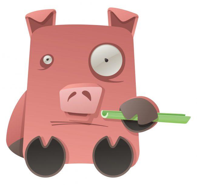 weird cartoon pig