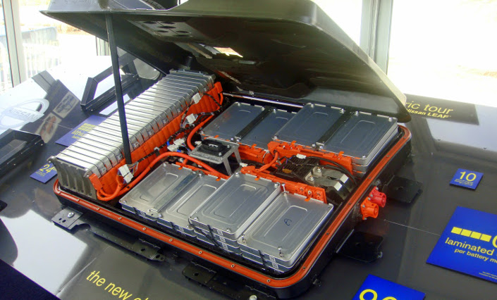 A Nissan Leaf battery pack - similar to what you might expect for a home battery.