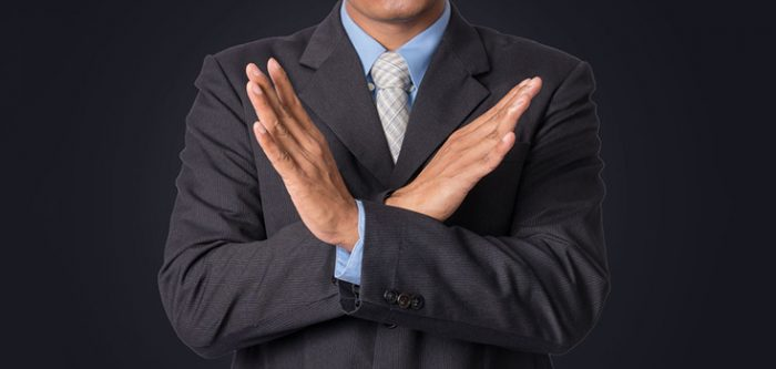 business man refusing
