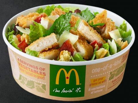 "McDonald's Canada's ""Keep Calm, Caesar On"" crispy chicken salad. Source: McDonald's Canada"