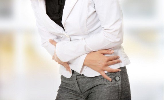 girl with stomach pain